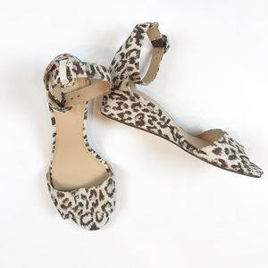 J. Crew leopard print wedge sandals size 6.5